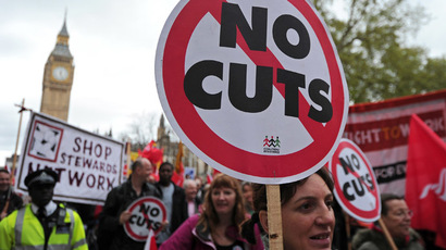 Striking public sector workers march in protest through central London (AFP Photo)