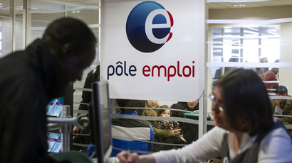 A photo taken on March 25, 2013 shows an office of the French state-run employment agency, Pole Emploi, in the northern Paris. (AFP Photo / Fred Dufour)