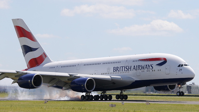 A British Airways Airbus A380 lands at the Le Bourget airport near Paris, one day before the start of the 50th Paris Air Show, June 16, 2013 (Reuters / Pascal Rossignol)