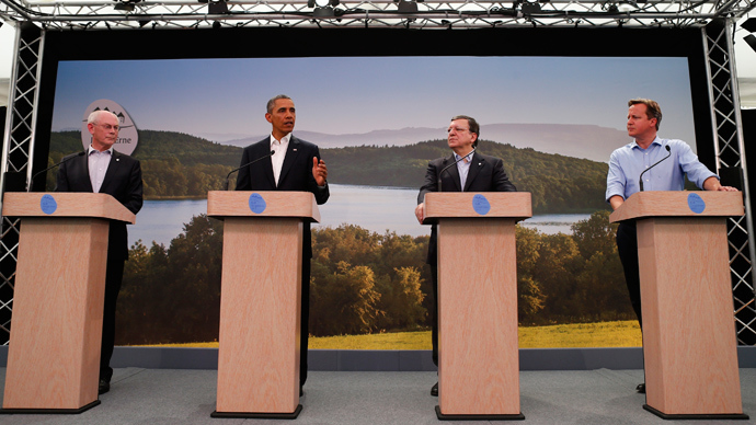 U.S. President Barack Obama (2nd L) attends a news conference with (L-R) European Council President Herman Van Rompuy, European Commission President Jose Manuel Barroso and Britain's Prime Minister David Cameron at the G8 summit in Enniskillen, Northern Ireland June 17, 2013 (Reuters / Andrew Winning)