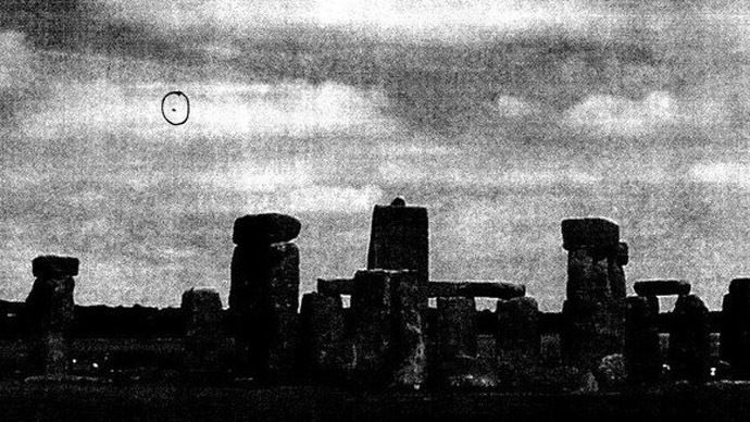 "A ""discoid shape"" is circled in a picture taken at Stonehenge and submitted to the British Ministry of Defense in 2009. (British National Archives)"