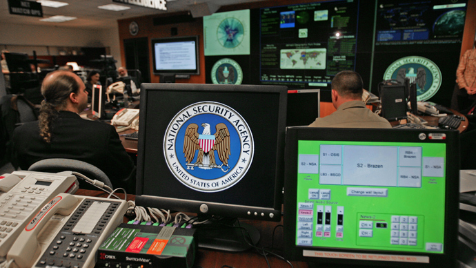 A computer workstation bears the National Security Agency (NSA) logo inside the Threat Operations Center inside the Washington suburb of Fort Meade, Maryland (AFP Photo)