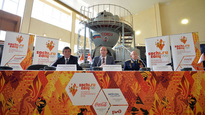 "(From left) Head of the Russian Federal Space Agency (Roscosmos) Vladimir Popovkin, Head of the Organizing Committee ""Sochi 2014"" Dmitry Chernyshenko and pilot-cosmonaut, a Hero of the Soviet Union (two awards) Alexei Leonov at a news conference dedicated to the signing of an agreement between the Organizing Committee ""Sochi 2014"" and the Russian Federal Space Agency (Roscosmos) at the Yuri Gagarin Cosmonaut Training Center, Moscow Region.(RIA Novosti / Alexander Vilf)"