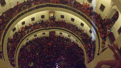 Thousands protest anti-abortion law in front of Texas Capitol