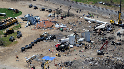 An aerial picture, taken from a helicopter shows the devastation at a fertilizer plant in West, Texas (AFP Photo / Jewel Samad)