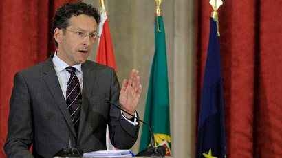 Eurogroup President and Dutch Finance Minister Jeroen Dijsselbloem talks to journalists during a joint news conference with Portuguese Finance Minister Vitor Gaspar in Lisbon May 27, 2013.(Reuters / Jose Manuel Ribeiro)