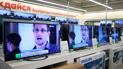 Television screens show former U.S. spy agency contractor Edward Snowden during a news bulletin at an electronics store in Moscow June 25, 2013.(Reuters / Tatyana Makeyeva)