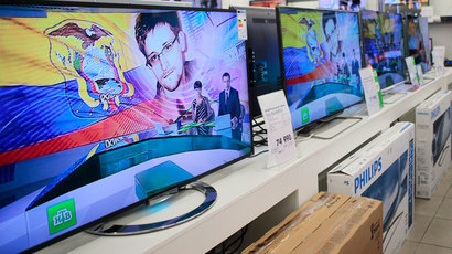 Television screens show former U.S. spy agency contractor Edward Snowden during a news bulletin at an electronics store in Moscow June 25, 2013. (Reuters / Tatyana Makeyeva)