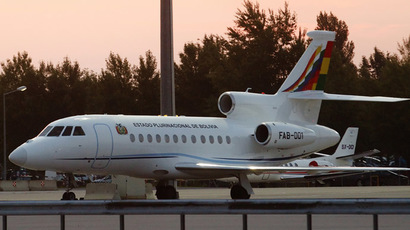 The Bolivian presidential airplane is parked at the Vienna International Airport in Schwechat July 3, 2013. (Reuters)