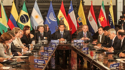 Partial view of the Presidents of UNASUR meeting in Lima on April 19, 2013. (AFP Photo/Sebastian Castaneda)