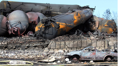 13 train cars transporting oil and gas derail, explode in Canada