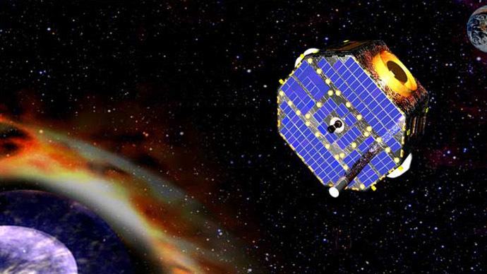 Artist's impression of NASA's IBEX spacecraft exploring the edge of our solar system. (NASA/GSFC)