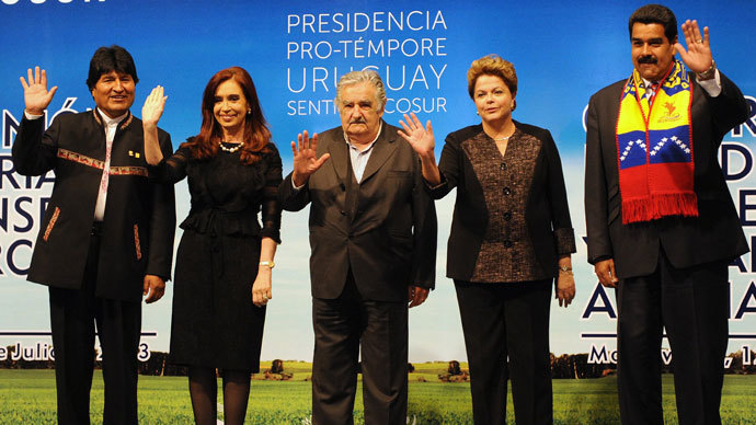 Presidents Evo Morales of Bolivia, Cristina Fernandez de Kirchner of Argentina, Jose Mujica of Uruguay, Dilma Rousseff of Brazil and Nicolas Maduro of Venezuela pose for the official picture of the XLV Mercosur Summit, at the Mercosur headquarters in Montevideo on July 12, 2013.(AFP Photo / Miguel Rojo)