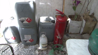 "Storage bags containing ""corrosive"" substances in the Damascus area of Jobar were found by the Syrian Army"