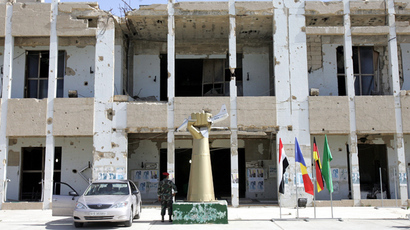 View of the remains of Libyan supremoMuammar Gaddafi's bombed out headquarters, no turned into a living memento, inside his compound in Tripoli 15 October 2004 (AFP Photo / John Macdougall)