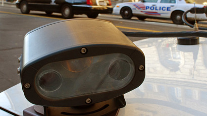 "A ""License Plate Reader"" or LPR, one of two mounted on the trunk of a Metropolotian Police Department(MPD) is seen on a police car in Washington, DC (AFP Photo/Paul J. Richards)"