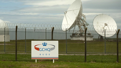 Satellite dishes are seen at GCHQ's outpost at Bude, close to where trans-Atlantic fibre-optic cables come ashore in Cornwall, southwest England June 23, 2013. (Reuters/Kieran Doherty)