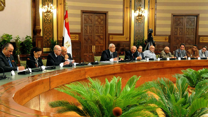 Egypt's interim president Adly Mansour (C) chairing a meeting concerning national reconciliation in Cairo on July 24, 2013.(AFP Photo / Egyptian Presidency)
