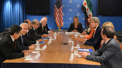 US Secretary of State John Kerry (3rd R) meets with members of the Syrian Opposition Coalition (L) at the United States Mission to the United Nations July 25, 2013 in New York (AFP Photo / Stan Honda)
