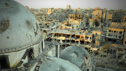A handout image released by the Syrian opposition's Shaam News Network on July 25, 2013, allegedly shows the Khaled bin Walid mosque whose mausoleum has been partially destroyed in the al-Khalidiyah neighbourhood of the central Syrian city of Homs. (AFP Photo/Shaam News Network)