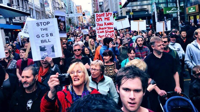 Kiwis on the march: Thousands turn out against new spy powers in New Zealand