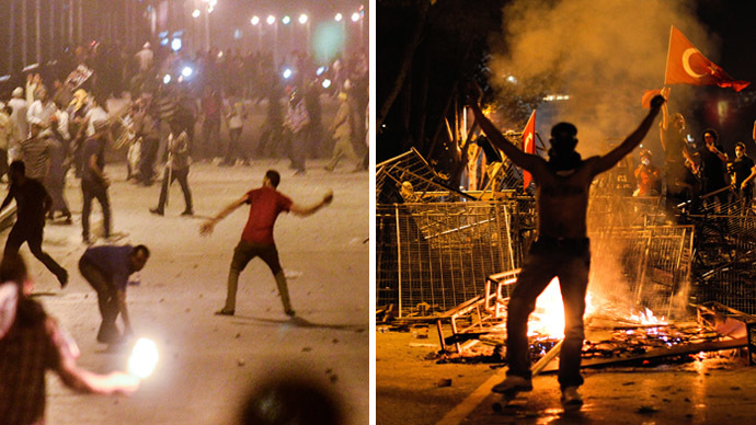 Demonstrators for and against ousted president Mohamed Morsi hurl stones at each other as they clash near Egypt's landmark Tahrir square on July 5, 2013 in Cairo. (L) Protestors clash with riot police between Taksim and Besiktas in Istanbul, on June 1, 2013, during a demonstration against the demolition of the park. (R) (AFP Photo)