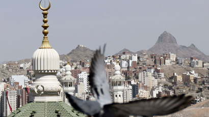 A pigeon flies near the minarets of the Grand Mosque (L) and Mount Al-Noor at Friday prayers during the annual haj pilgrimage in the holy city of Mecca.(Reuters / Amr Abdallah Dalsh)
