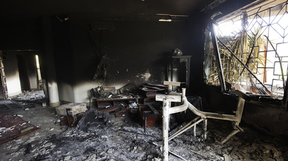 A picture shows the interior of the burnt US consulate building in the eastern Libyan city of Benghazi on September 13, 2012 following an attack on the building late on September 11 (AFP Photo / Gianluigi Guercia)