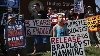 Supporters of U.S. Army Pfc. Bradley E. Manning hold signs to show support during a demonstration outside the main gate of Ft. Meade July 30, 2013 in Maryland.(AFP Photo / Alex Wong)
