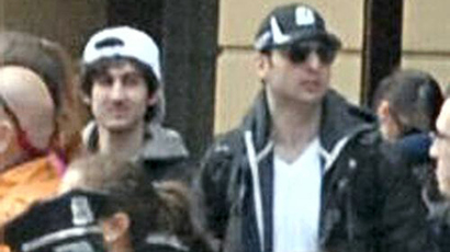The video still of the Boston marathon suspects published by the Federal Bureau of Investigation. The FBI identified the suspects as Dzhokhar Tsarnayev, 19 (L) and Tamerlan Tsarnayev from Cambridge (RIA Novosti)