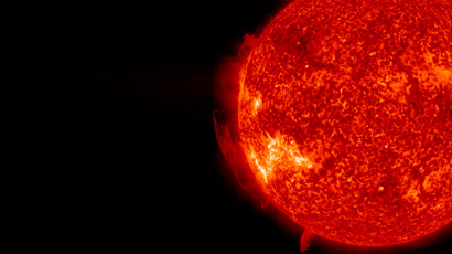 A dynamic swirling mass of plasma is seen spinning above the Sun's surface for over 36 hours on June 16 - 17, 2013, in this handout image provided by NASA (Reuters / Solar Dynamics Observatory)