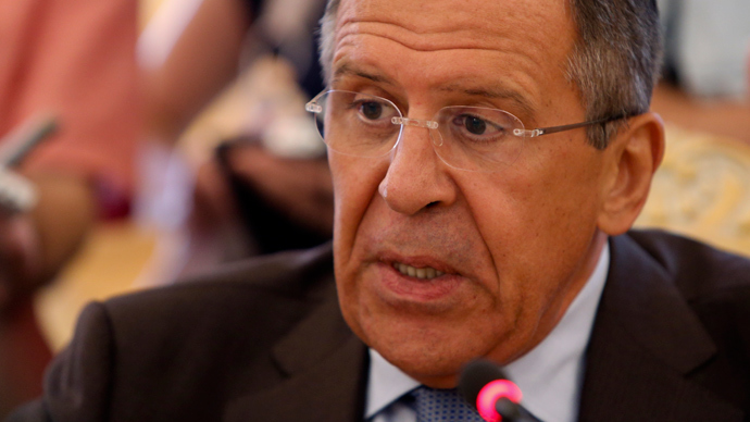 Russian Foreign Minister Sergei Lavrov speaks at a news conference after talks with Ghana's Foreign Minister Hannah Tetteh in Moscow, August 7, 2013 (Reuters / Maxim Shemetov)