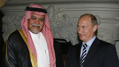Russian President Vladimir Putin, right, and Prince Bandar bin Sultan bin Abdulaziz Al-Saud, general secretary of the National Security Council of Saudi Arabia, meeting in Moscow (RIA Novosti / Alexey Druzhinin)
