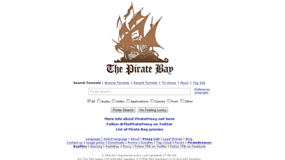 Screenshot from pirateproxy.se