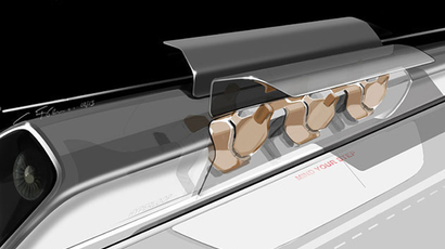 Hyperloop passenger capsule version with doors open at the station. (Image from teslamotors.com/blog/hyperloop)