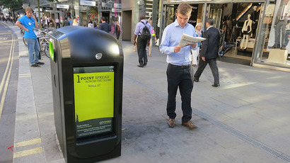 A high-tech trash bin with 'Renew ORB' technology (Image from renewlondon.com)