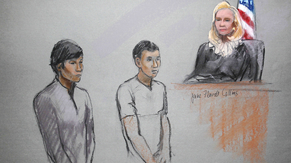 Defendants Dias Kadyrbayev (L) and Azamat Tazhayakov are pictured in a courtroom sketch, appearing in front of Federal Magistrate Marianne Bowler at the John Joseph Moakley United States Federal Courthouse in Boston, Massachusetts May 1, 2013. (Reuters)