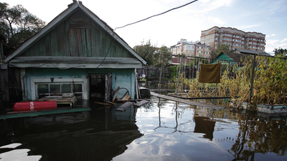 A flooded house in Blagoveschensk, Amur Region. (RIA Novosti / Belozerov Ivan)