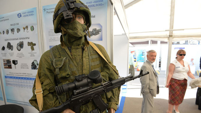 Samples of new uniform for servicemen and workwear, displayed at the Defense Ministry Innovation Day exhibition.(RIA Novosti / Iliya Pitalev)
