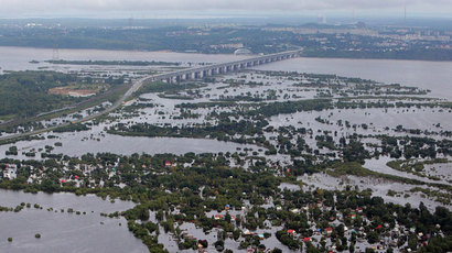 An aerial view of the flooded suburbs of Khabarovsk.(RIA Novosti / Sergey Mamontov)