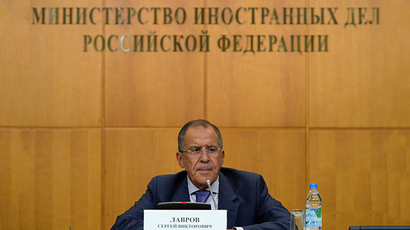 Russian Foreign Minister Sergei Lavrov gives a press-conference on the situation in Syria in Moscow on August 26, 2013. (RIA Novosti / Maxim Blinov)