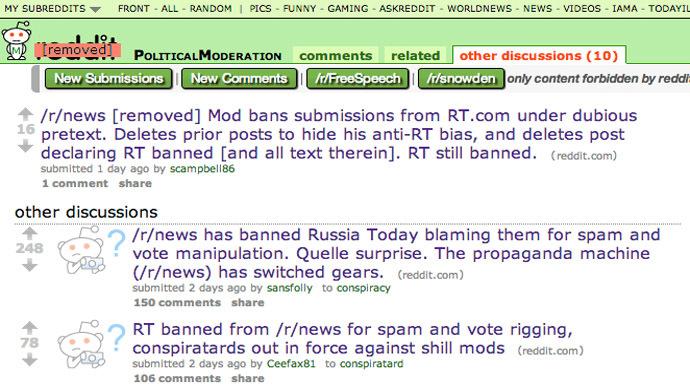 Reddit moderator pushed for RT ban 'simply because it's Kremlin'