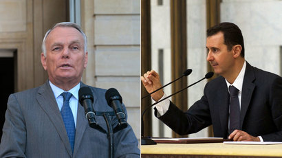 French Prime minister Jean-Marc Ayrault,Syria's President Bashar al-Assad.(AFP Photo / Jacques Demarthon / SANA)