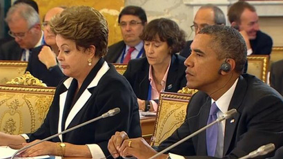 Brazil's President Dilma Rousseff and US President Barack Obama (Still from RT video)