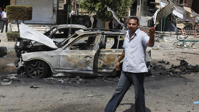 A man shouts anti-Muslim Brotherhood slogans at the scene of an explosion near the house of Egypt's interior minister at Cairo's Nasr City district September 5, 2013. (Reuters/Amr Abdallah Dalsh)