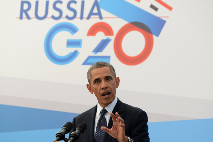 US President Barack Obama answers a question during a press conference in Saint Petersburg on September 6, 2013 on the sideline of the G20 summit (AFP Photo)