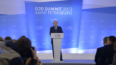 Russia's President Vladimir Putin gives a press conference at the end of the G20 summit on September 6, 2013 in Saint Petersburg (AFP Photo)