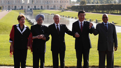 Group photographs of the heads of the delegations of the BRICS countries. From left: President of the Federative Republic of Brazil Dilma Vana Rousseff, Prime Minister of the Republic of India Manmohan Singh, President of the Russian Federation Vladimir Putin, President of the People's Republic of China Xi Jinping and President of the Republic of South Africa Jacob Zuma (RIA Novosti / Igor Russak)