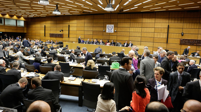 Participants arrive at the board room on the first day of the board of governors' meeting of the International Atomic Energy Agency (IAEA) on September 9, 2013 at the UN headquaters in Vienna (AFP Photo)