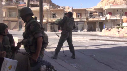 Fighting between Syrian government forces and Al-Nusra Front rebels for the village of Maaloula, northeast of Damascus, September 7. Still from RT video